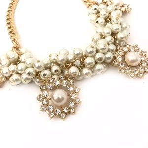 Charming Charlie Faux Pearl Statement Necklace